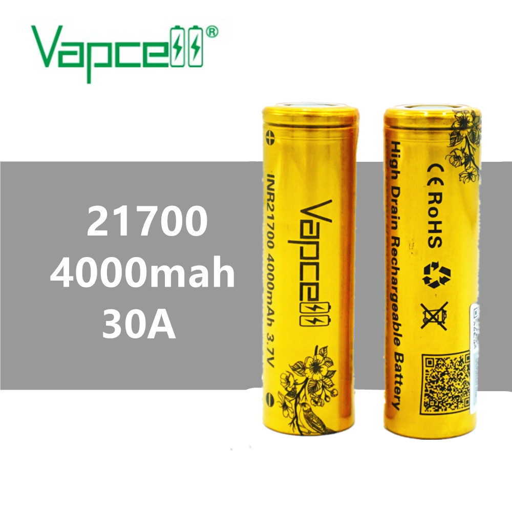 2pcs VAPCELL  INR21700 21700 battery 4000mAh lithium 30A rechargeable battery HIGH POWER electric tool smoke  E-CIG Battery mod