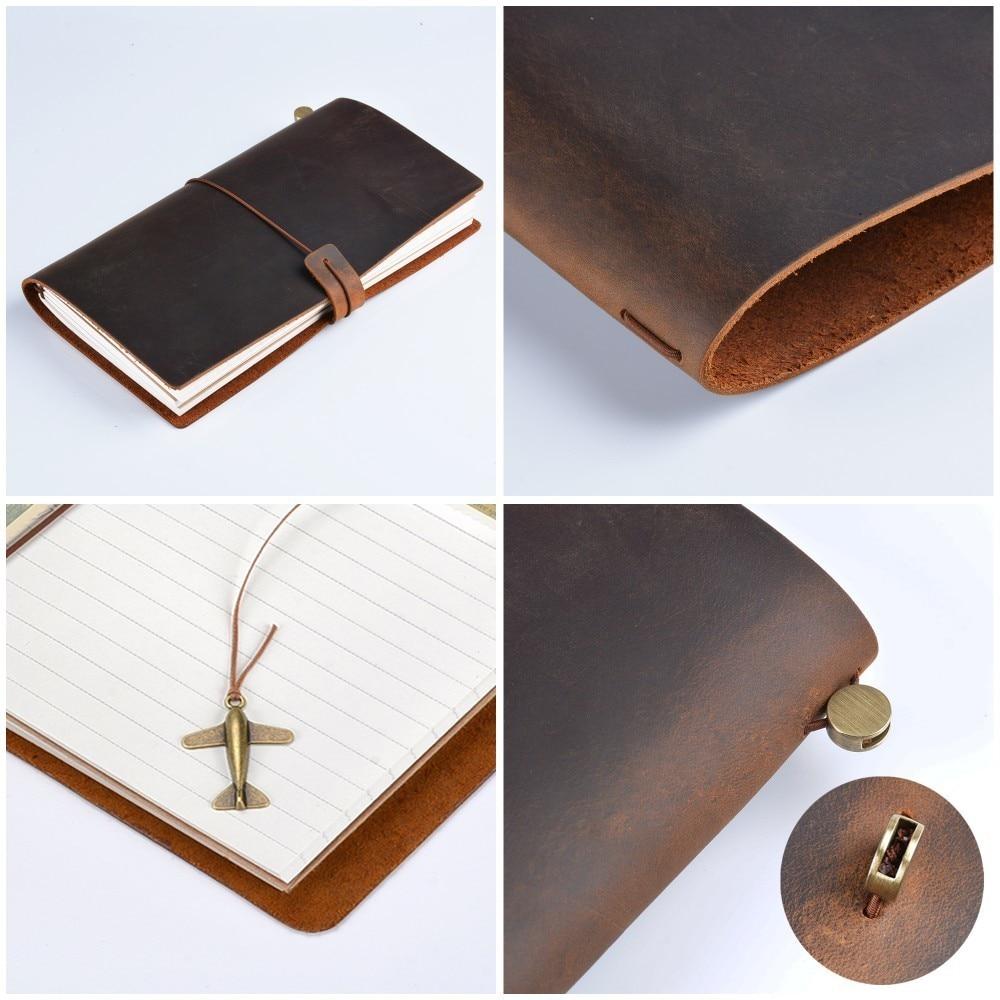 Hot Sale 100% äkta läder anteckningsbok handgjorda vintage kohid - Block och anteckningsböcker - Foto 4