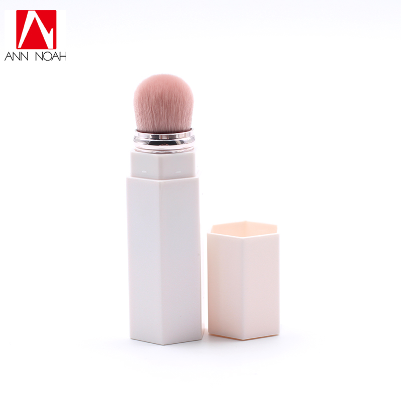 Cute White Tube Pink Synthetic Hair 150 Kabuki Precise Magnetic Retractable Portable Contour Concealer Brush