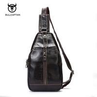 Bullcaptain Men Chest Bag 100 Genuine Leather Men Bag Brand Designer Leather Messenger Bags Casual Mens