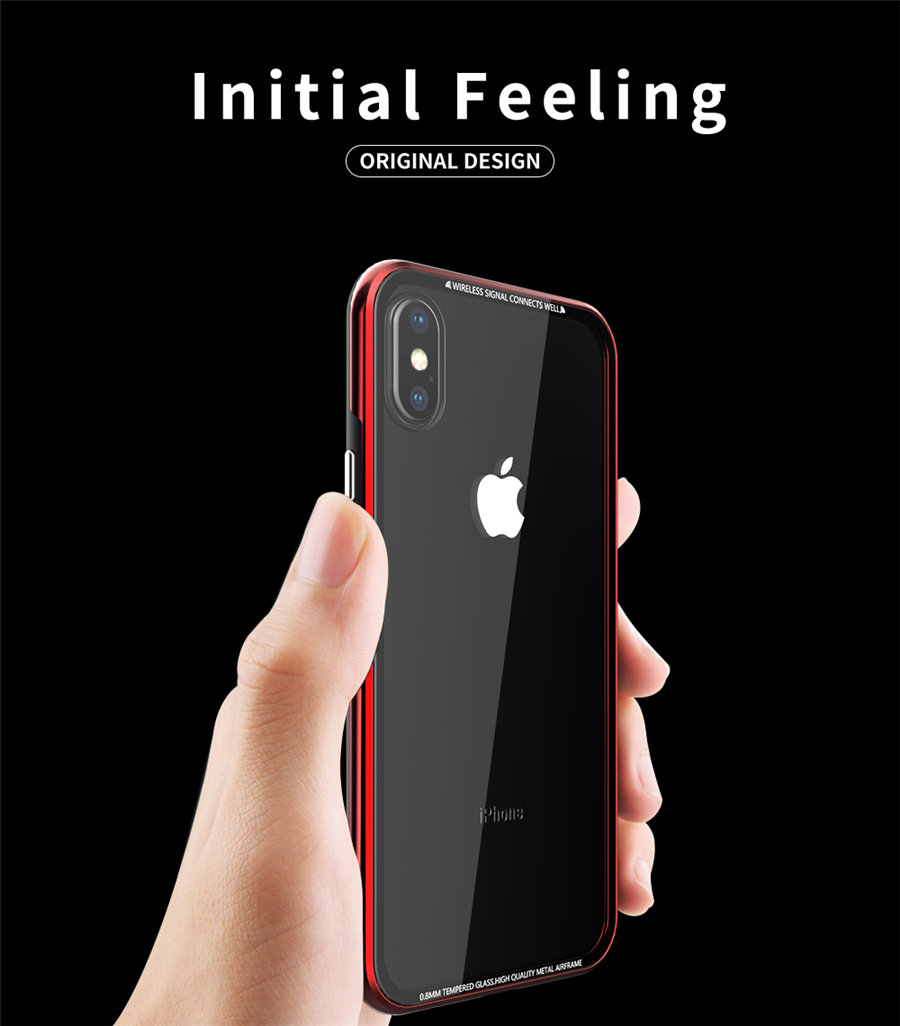 Luxury Aluminum Phone Cases For iPhone X Original R-just Hardness Tempered Glass Cover Case For iPhone X 10 Accessories (2)