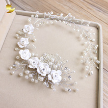 XinYun Bride Hair Comb Bridal Floral Headband Pearl Hair Jewelry Hairband Hair Ornaments Bridal Tiara Wedding Accessories