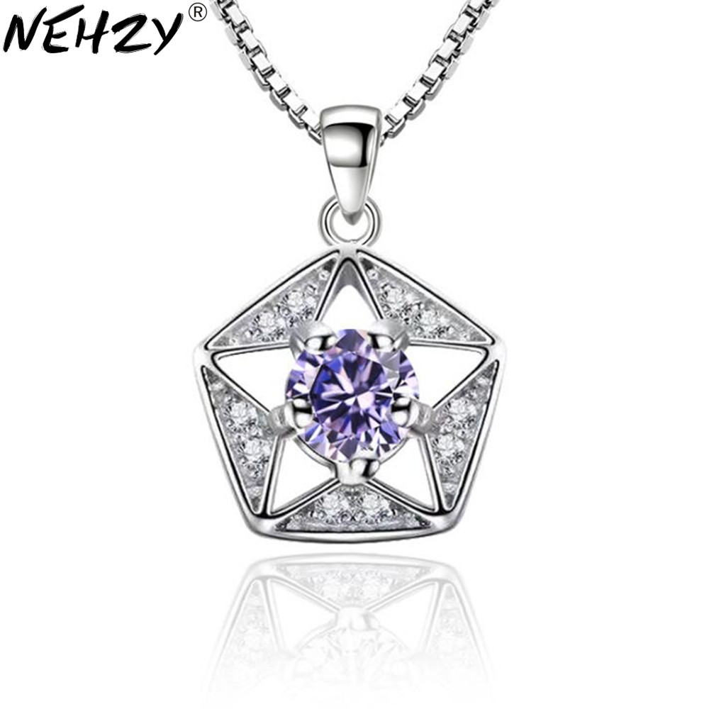 NEHZY 925 sterling silver new woman jewelry Fashion brand necklace pendant lucky five-pointed star pendant retro hollow