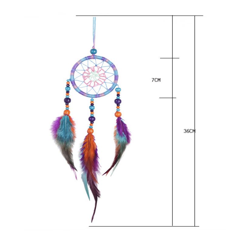 Image 3 - Car Handmade Dream Catcher Colorful Feather Hanging Pendant Home Hanging Decor Dream Catcher Ornament craft gift-in Ornaments from Automobiles & Motorcycles