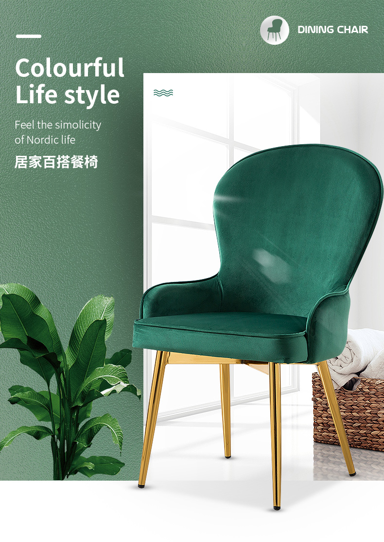 Nordic Style Dining Chair Modern Minimalist Cafe Chair Desk Dressing Chair