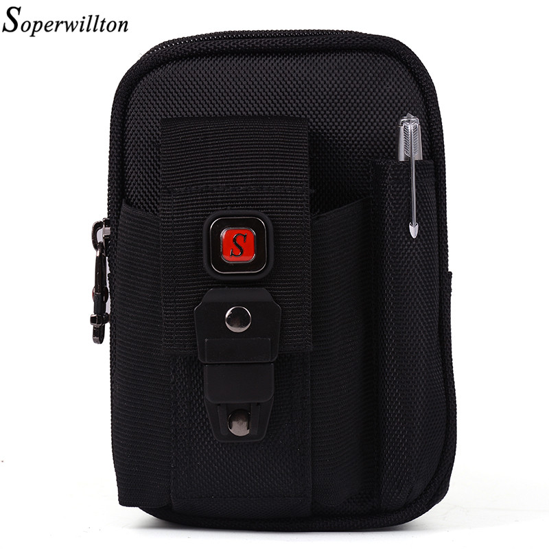 Soperwillton Dropshipping Men Belt Bag Waist Packs Oxford 1680D Waist Bag Mobile Phone Bag Fanny Pack Pen Hold Wholesale #J100