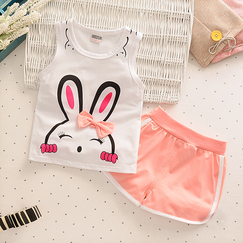 1-2-3-4 years Summer Vest + Shorts2017 New Childrens Clothing Sets Baby Girls Clothes Anime Girl Sleeveless Kids Clothes Suits