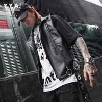 Spring Summer Fashion Mens Pu Leather Sleeveless Jacket Adjust Waist Waistcoat Punk Style Faux Leather Motorycle Biker Man Vest