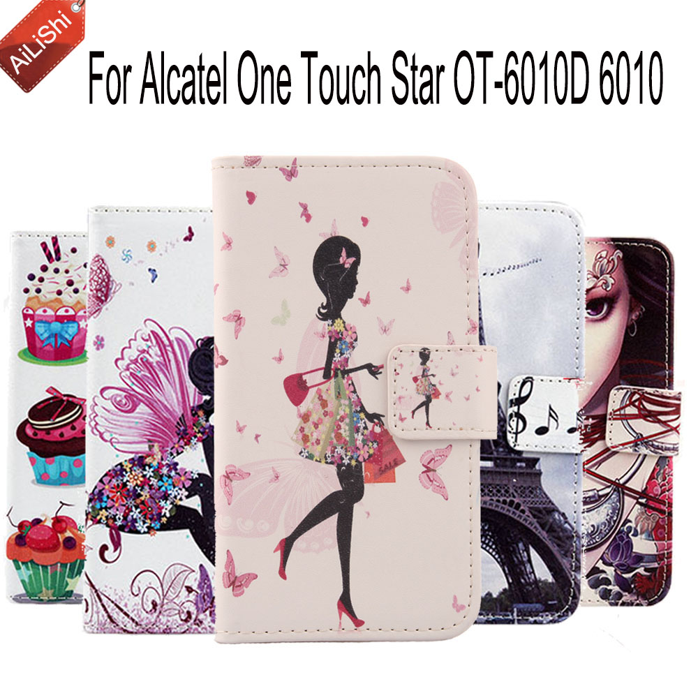 Hot Sale Patterns Cartoon Leather Case For <font><b>Alcatel</b></font> One Touch Star OT-6010D <font><b>6010</b></font> PU Painted Cover Skin Optional Flip image