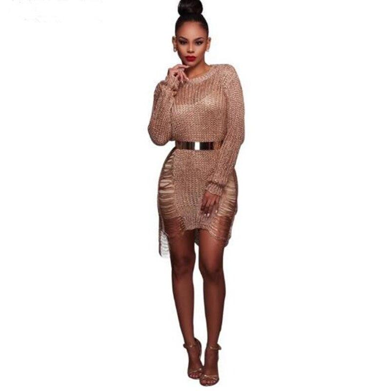 énorme réduction fc51f ba0f3 € 14.68 40% de réduction|2017 dernières sexy dames chandail or creux robe  pull laine plage robe d'été robe essentielle robes de plage X157-in Robes  ...