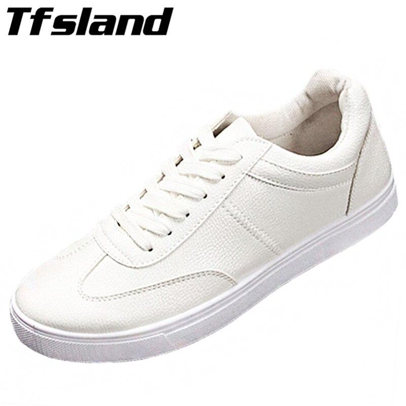 Prix pour Tfsland Hommes Lacent Chaussures En Cuir Respirant Chaussures Confortables Blanc Mâle Bout Rond Planche À Roulettes Chaussures Sneakers Zapatilla Hombre