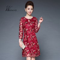 Wmwmnu 2017 New Christmas Embroidery Lace Party Dress Women Chinese Style Sexy Retro Pencil Dress Simple