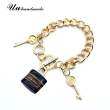 Boho Golden Twisted Chain Key Acrylic Lock Pendant Bracelet Jewelry bracelets for women christmas gifts pulseras mujer pulseira(China)