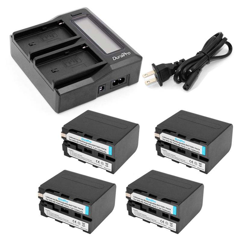 DuraPro 4Pcs NP-F970 NP-F960 NPF960 NPF970 battery + LCD Fast Dual Charger for Sony HVR-HD1000 V1J CCD-TRV26E DCR-TR8000 PLM-A55 digital boy high capacity 1pcs np f750 np f750 f730 f770 battery for sony np f770 f730 ccd trv58 trv110k trv26e hvr z1 v1j z1