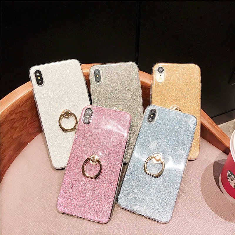 Silicone Bling Glitter Phone Case For iPhone 6 6s 7 8 Plus X XR XS Max Soft TPU Ring Cover For iPhone 7 Plus 8 Plus Coque Fundas