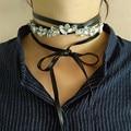 Moda rhinestone cristal gargantilha colar mulheres sexy punk amarrado rendas até bowknot colares de couro jóias presentes de natal ano novo