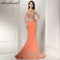 Sexy Two Pieces Sheer Lace Mermaid Evening Dresses Real Photo Crystal Long Formal Dress Party Vestidos LSX227