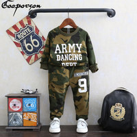 Girls Tracksuit Autumn Army Color Letter Printed Full Sleece Cotton Clothing Set Green And Red Two