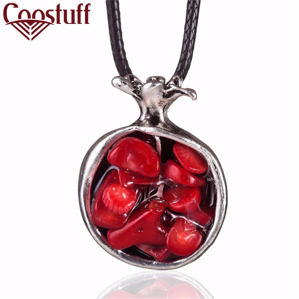 2018 Vintage Fruit statement necklaces pendants Color Stone pendant vintage Long necklace women christmas gift collares mujer in Pendant Necklaces from Jewelry Accessories