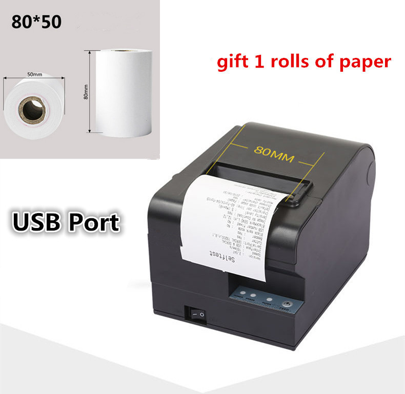gift 1rolls of paper new high quality 80mm thermal receipt printer automatic cutting printing USB port