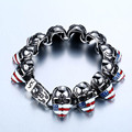 2016 New Cool Punk punk American Flag skull Bracelet for Man 316 Stainless Steel Man's High Quality jewelry BC8-025