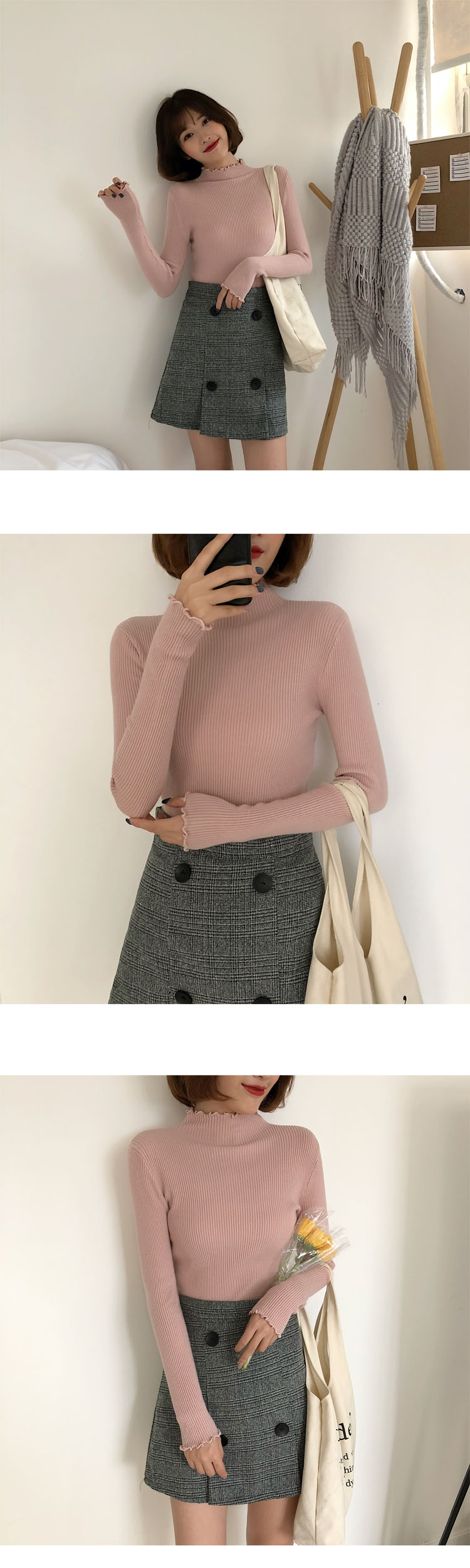 shintimes Women Sweater Slim Sexy Knitted Turtleneck Ruched High Elastic Solid 19 Fall Winter Fashion Sweater Women Pullovers 7
