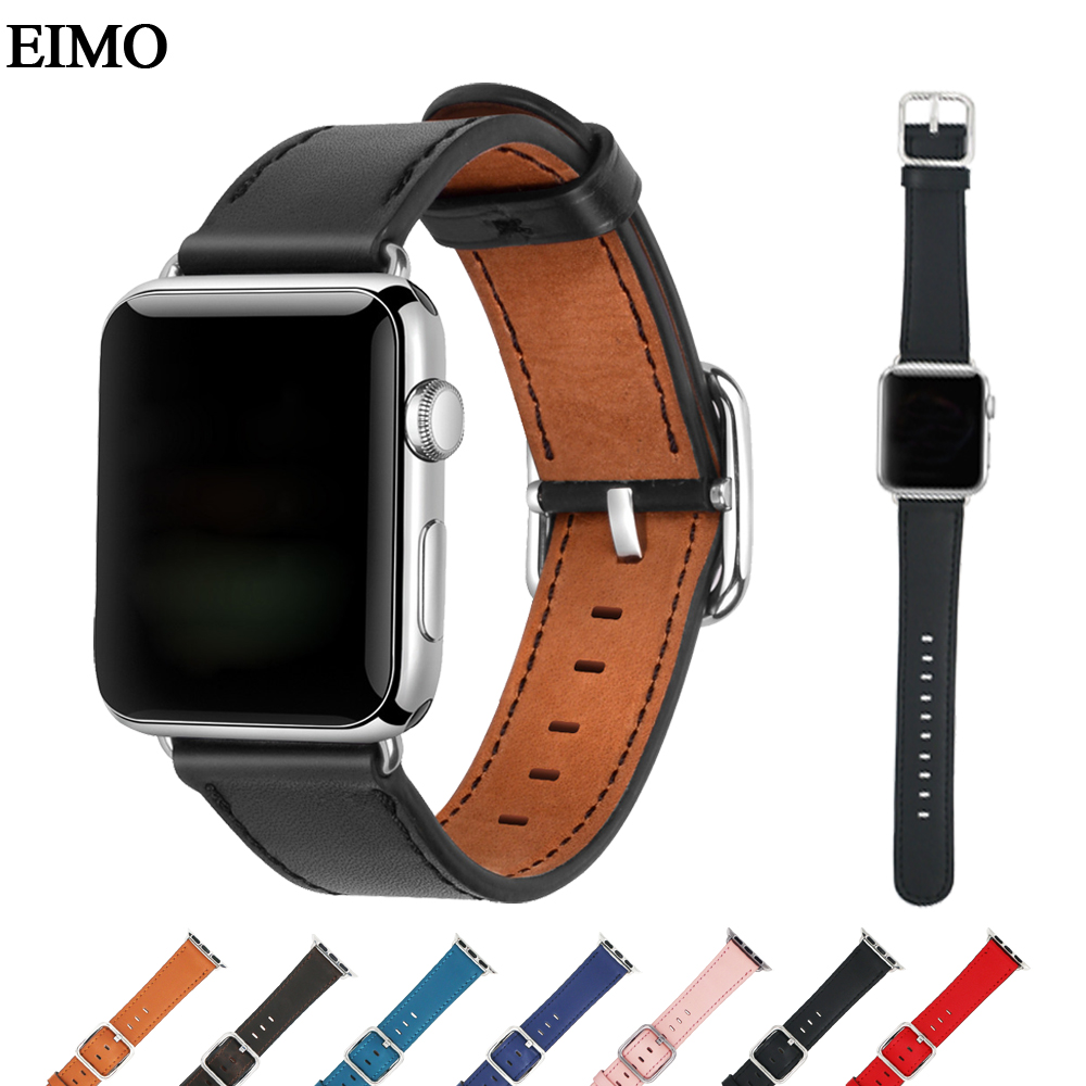 Sport Genuine Leather strap for apple watch band 42mm 38mm Metal Classic Buckle belt watch wrist strap leather for iwatch 3/2/1 genuine leather classic buckle watch straps wrist band for apple watch 42mm red