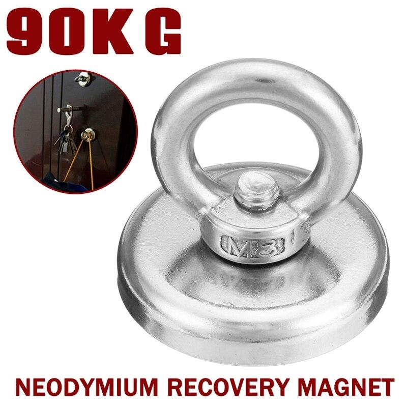 Universale New 90 KG 48mm Magnete Al Neodimio di Recupero Metal Detector Treasure Caccia Pesca Ventosa