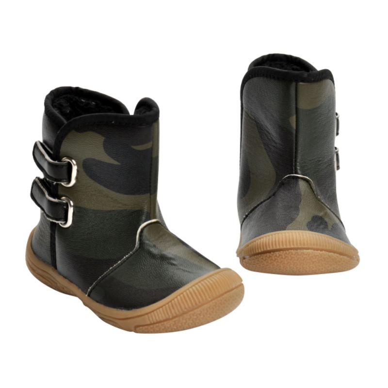 Autumn Newborn Infant Toddler Sneakers Boots Rubber Bottom Baby Boys Girls Buckle Strap Waterproof Camo First Walkers Shoes