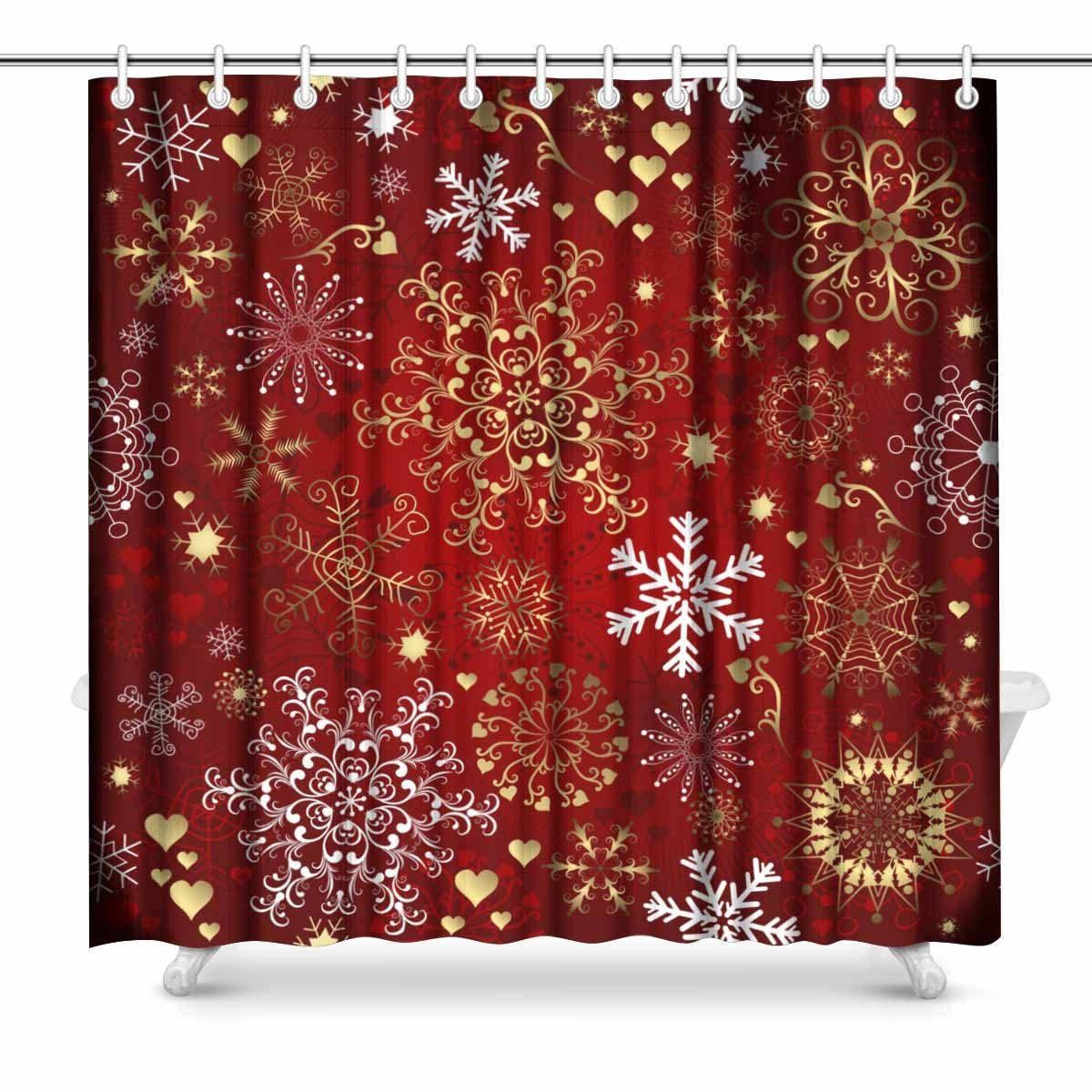 Aplysia Christmas Red Seamless Pattern with Gold and White Snowflakes Fabric Bathroom Shower Curtain Decor Set with Hooks