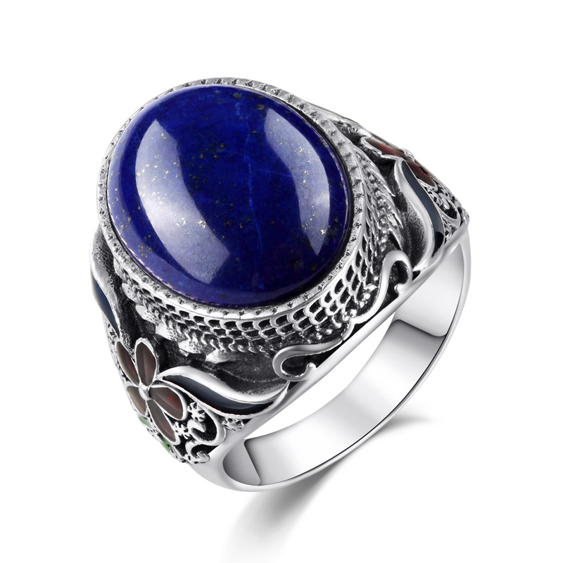 где купить 925 Sterling Silver Genuine natural Lapis Thai silver filigree ring finger ring burning blue exaggeration atmosphere дешево