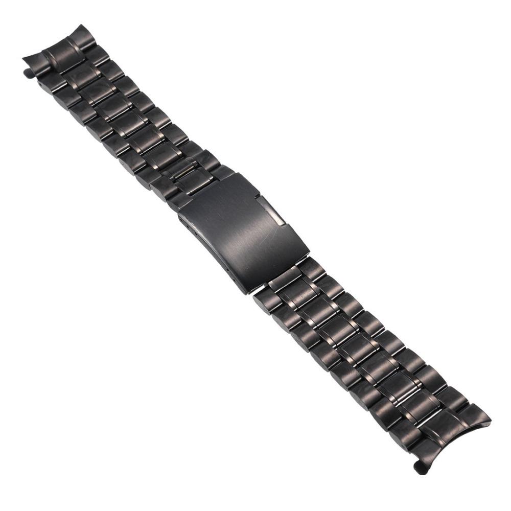 Prix pour 2016 Haute Quatity Nouvelle Arrivée De Mode 18,20, 22,24mm De Luxe Bracelet Bretelles Noir Inoxydable En Acier Pour Montre Lien Bracelet