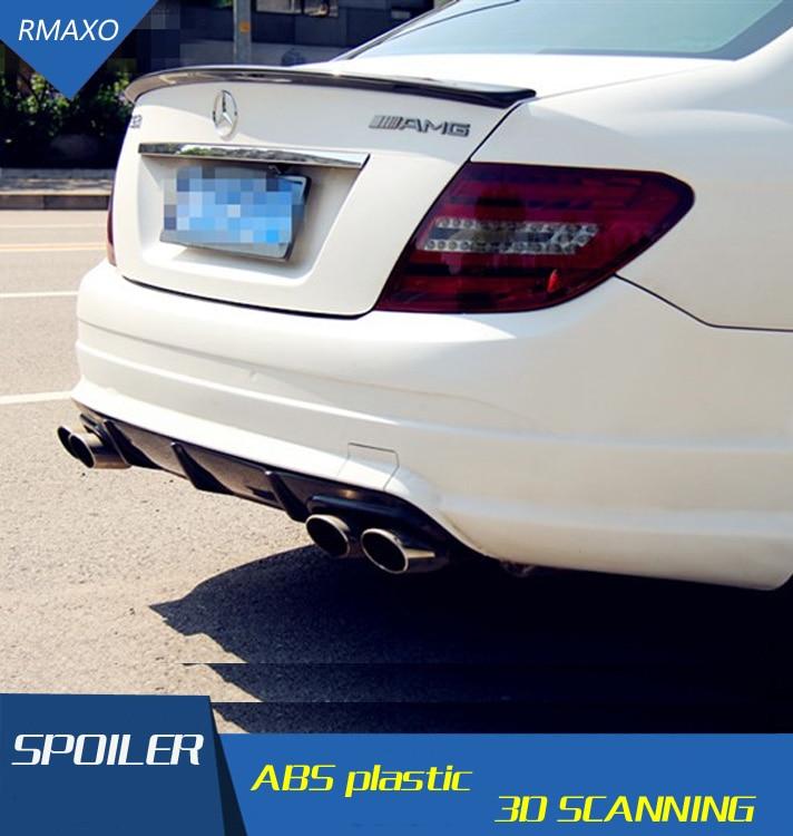 Pour Benz W204 becquet en Fiber de carbone voiture aileron d'aile arrière pour Benz W204 C180 C200 C260 C280 C300 C74 becquet de toit 2008-2014