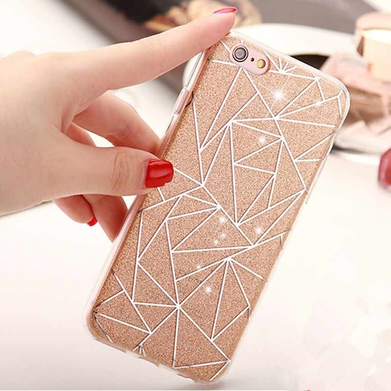Voor iPhone 7 Case Luxe 3D Zacht Plastic Case Silicon Glitter Flash poeder Cover Voor Coque iPhone 7 8 Plus 6 s 5 s SE XS Max XR X