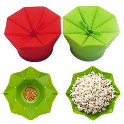 Maszyna do robienia popcornu DIY silikonowa kuchenka mikrofalowa maszyna do robienia popcornu krotnie wiadro czerwony zielony pojemnik na żywność