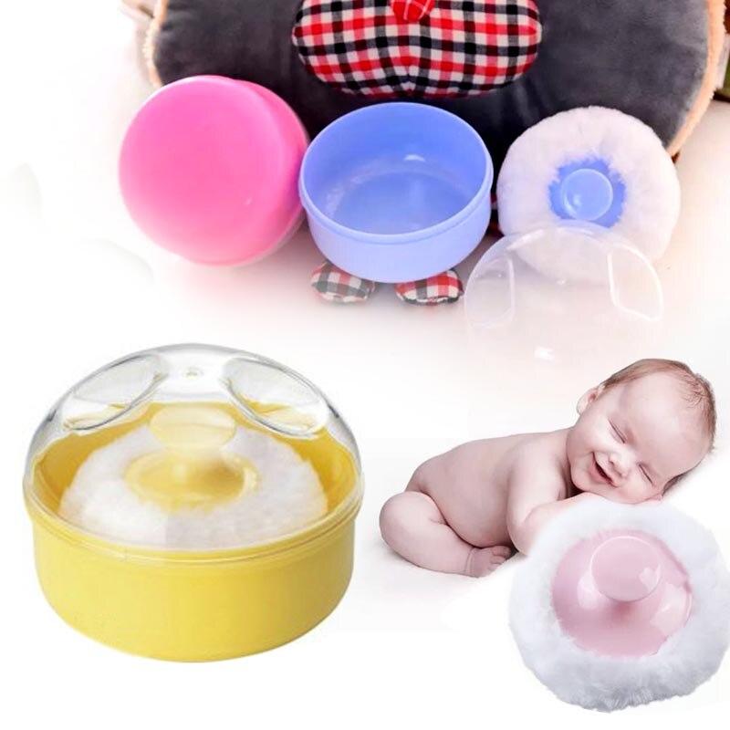 Лицо тела Puff Тальк порошковый Puff Младенцы пуховкой стильный круглый ворсинок с коробка для хранения детские