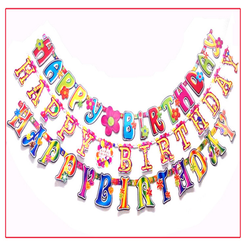 21 meter happy birthday letter cartoon pennants paper flag party decoration banner bunting for children kids birthday decorate