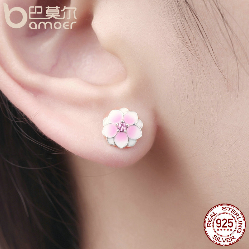 Bamoer Genuine 925 Sterling Silver Magnolia Bloom Pale Cerise Enamel Pink Cz Stud Earrings For Women Jewelry Bijoux Pas503 In From