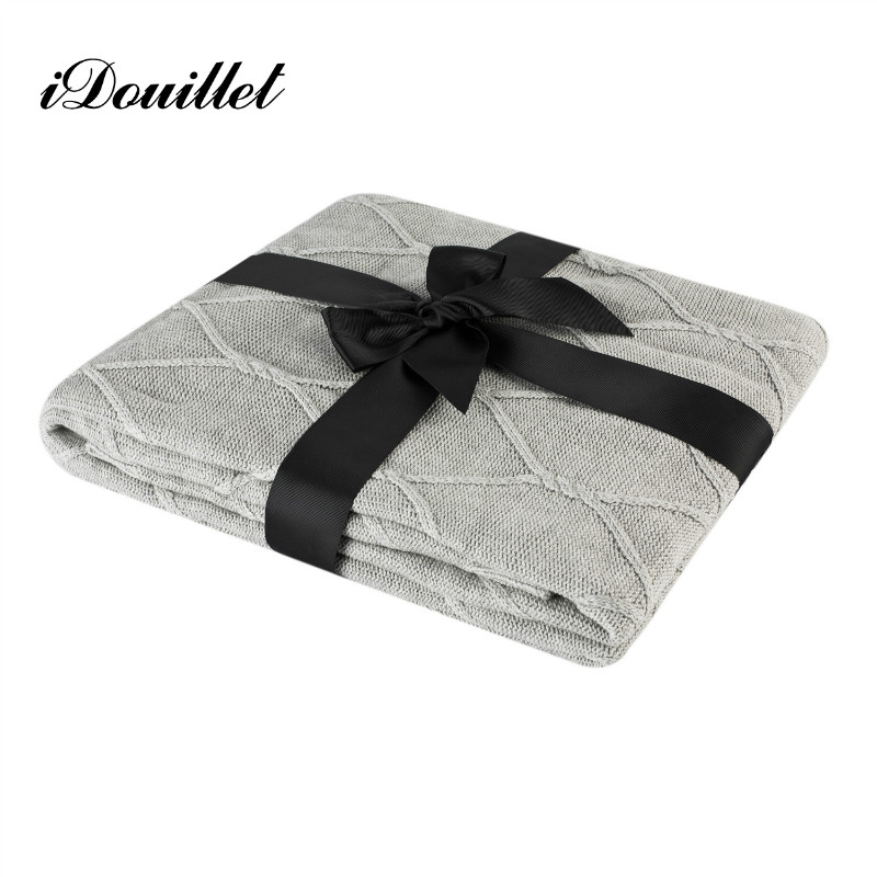 iDouillet 100% Cotton Cable Knit Throw Blanket for Sofa Couch Decorative Knitted Bedding Oversized <font><b>50</b></font>