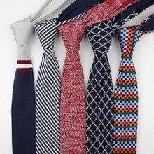 Мужские цветные вязаные галстуки, галстуки в диагональную полоску, цветные узкие тонкие тканые простые Узкие галстуки
