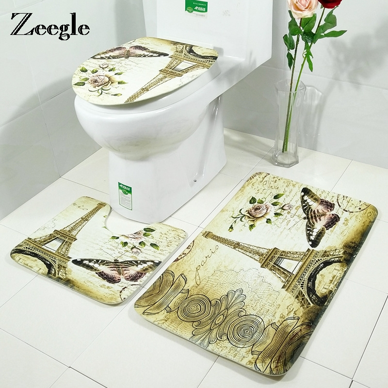 Zeegle 3pcs/set Bathroom Rug Toilet Mats Anti-slip Bath Rug Toilet Lid Covers Absorbent Shower Mat Foot Pads Toilet Decor