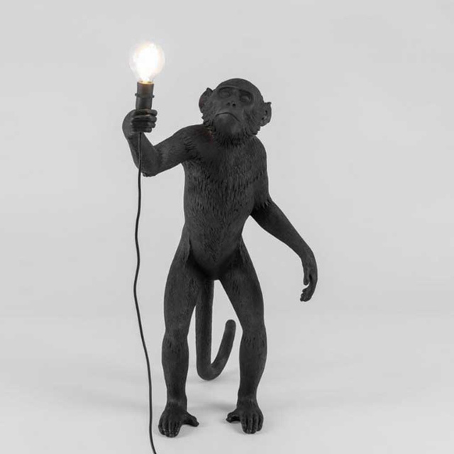 Schwarz Affe Lampe Hanf Seil Anhänger Licht Mode Einfache Kunst Nordic Repliken Harz Seletti Hängen Leuchten Wohnkultur
