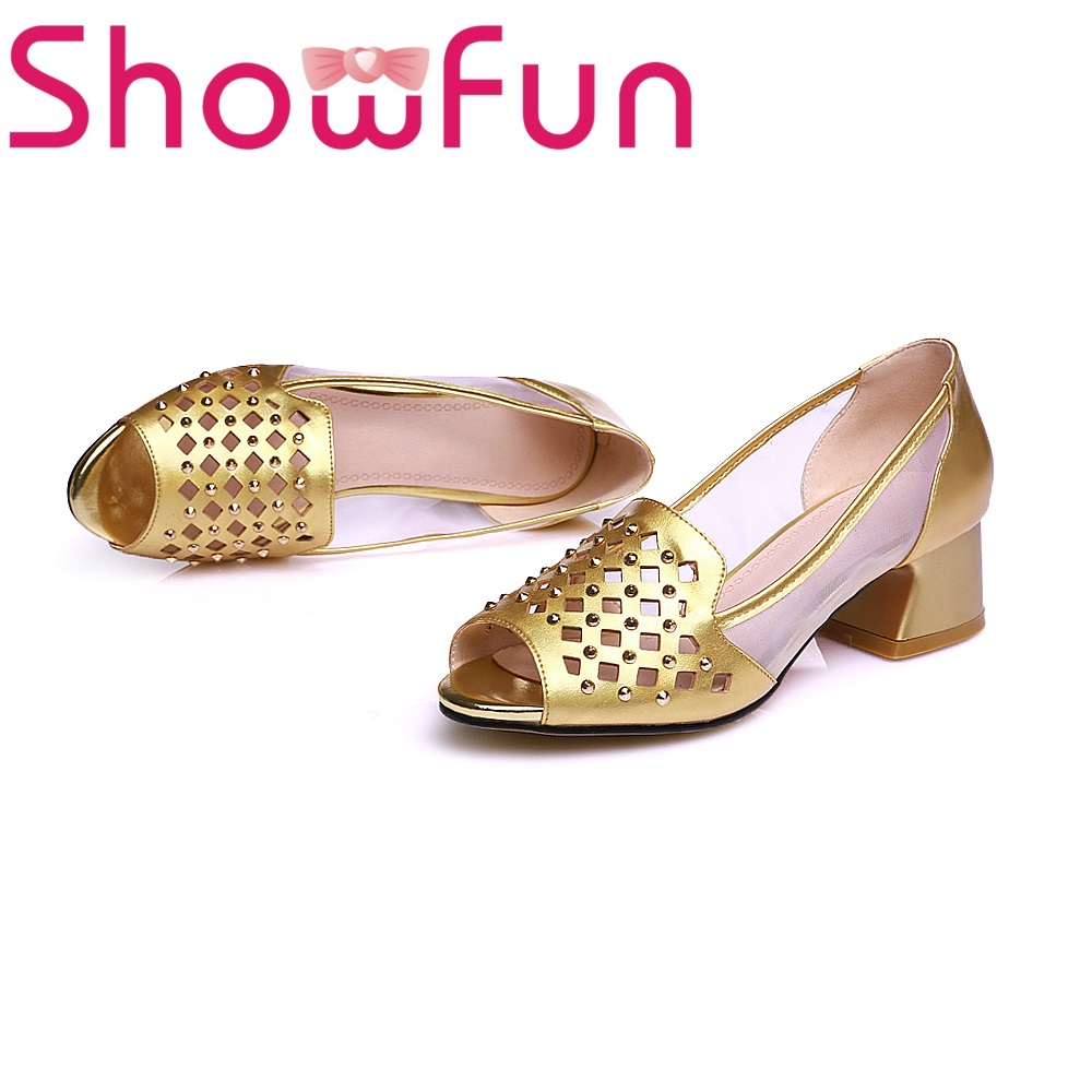 Showfun genuine leather shoes woman office&career buckle cover heel square heel sandals showfun 2018 genuine leather retro faux