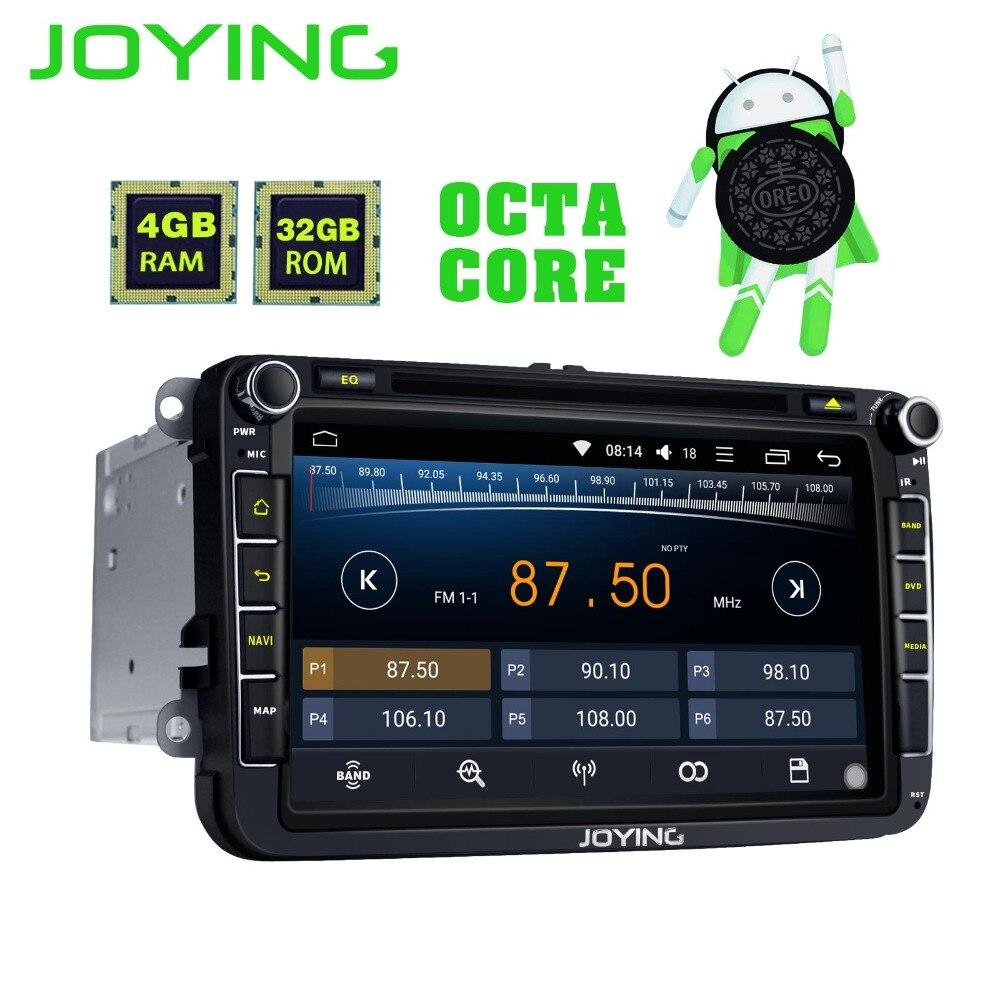 JOYING Octa core 2GB/4GB 8'' Android 8 Car Radio Stereo with carplay for Skoda Rapid SuperB head unit DVD player for GOLF PASSAT joying 4gb ram android 8 0 car autoradio stereo for golf jetta caddy eos head unit for passat polo tiguan gps player for skoda