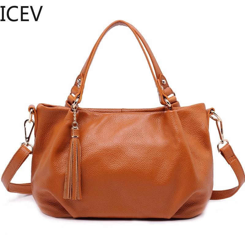 ICEV New Simple Genuine Leather Handbags Tassel Women Leather Handbags Ruched Bags Handbags Women Famous Brands Bag Ladies Sac famous brand new black women s medium m ruched cowl neck sheath dress $90 076