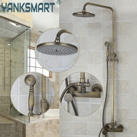 8 Showerhead Bathroom Faucet Antique Brass Waterfall Shower Set Hot Cold Mixers Tap Wall Mounted Rainfall