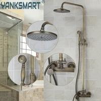 8 Showerhead Bathroom Faucet Antique Brass Waterfall Shower Set Hot Cold Mixers Tap Wall Mounted Rainfall