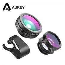 Aukey Объектив для камеры для телефона 3-в-1 оптический 180 градусов Рыбий глаз + 110 градусов Широкий формат + 10X макрообъектив Clip-On Phone объектива