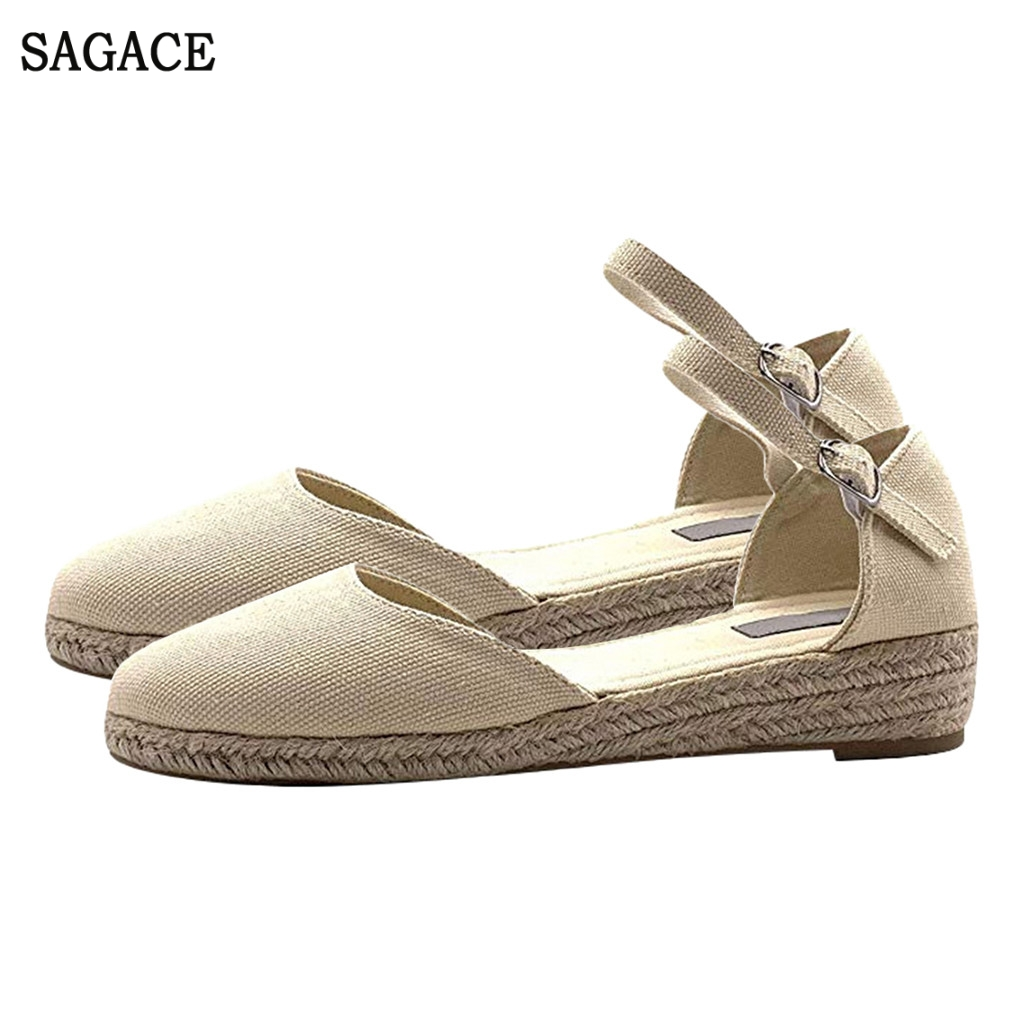 SAGACE Wedges Sandals Shoes Roman Buckle Comfortable Flat Women Beach Weaving Leisure