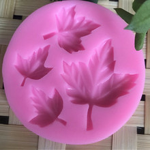 fashion Leaf shaped silicone cake fondant mold 3D soap candle moulds(China)